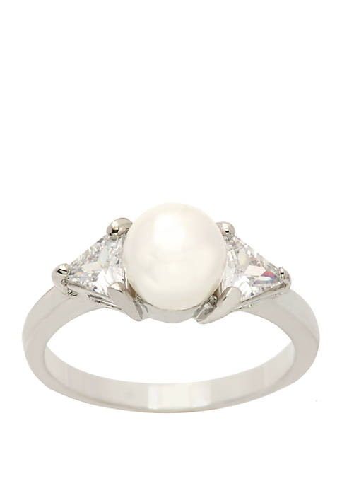 Kim Rogers® Boxed Silver Tone Pearl Ring