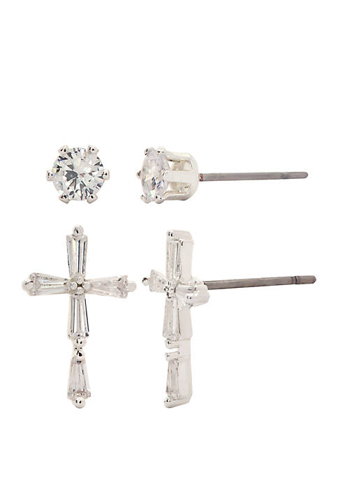 Kim Rogers® Cubic Zirconia Duo Cross Earrings Set