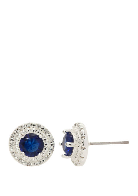 Boxed Cubic Zirconia Round Stone Double Row Pave Crystals Stud Earrings