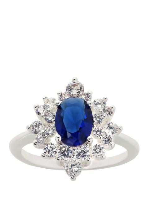 Cubic Zirconium Crystal Oval Flower Ring