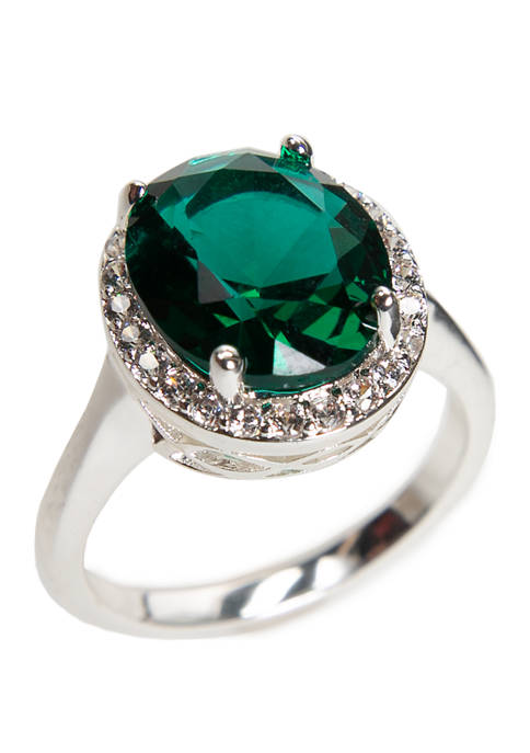Lab Created Cubic Zirconia Crystal Pavé Emerald Ring