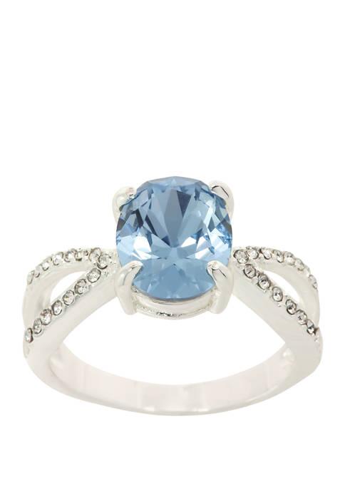 Kim Rogers® Boxed Crystal Oval Pavé Sapphire Silver