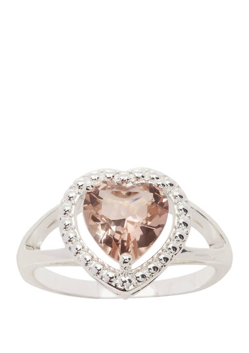 Silver Tone Lab Created Crystal Heart Halo Split Rose Ring