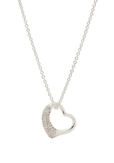 Boxed  Lab Created Cubic Zirconium Pave Open Heart Clear Silver Pendant Necklace