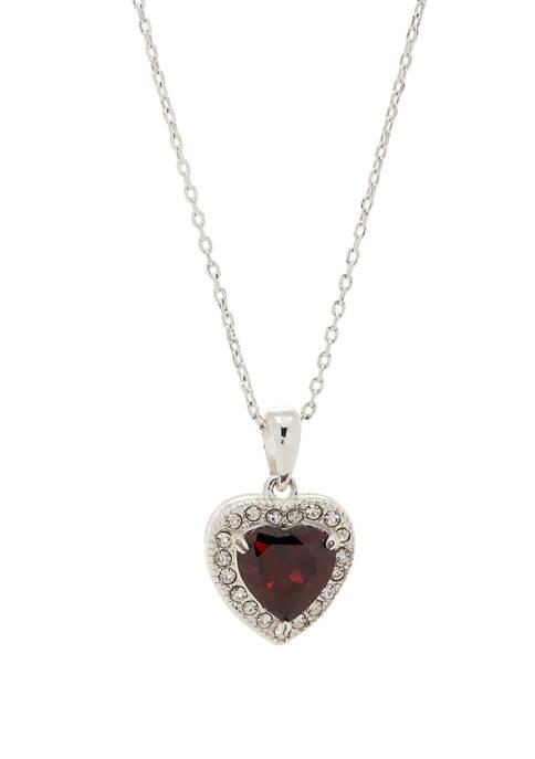 Boxed Pendant Crystal Heart Cubic Zirconium Halo Necklace