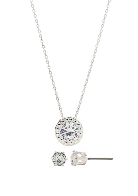 Boxed Cubic Zirconia Round Halo Earring and Necklace Set
