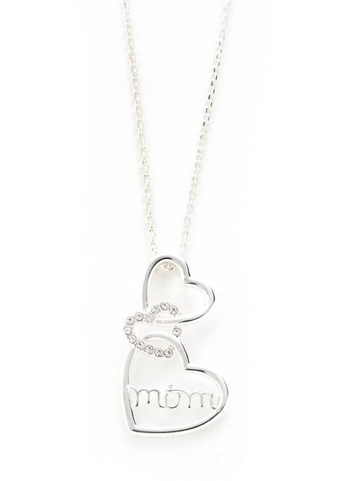 Kim Rogers® Pave Crystal Triple Heart Mom Pendant