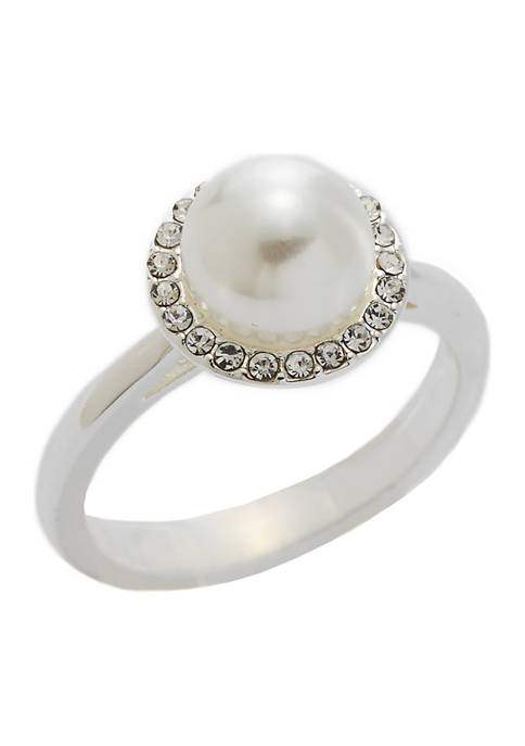 Kim Rogers® Boxed Pave Crystal Pearl Halo Ring