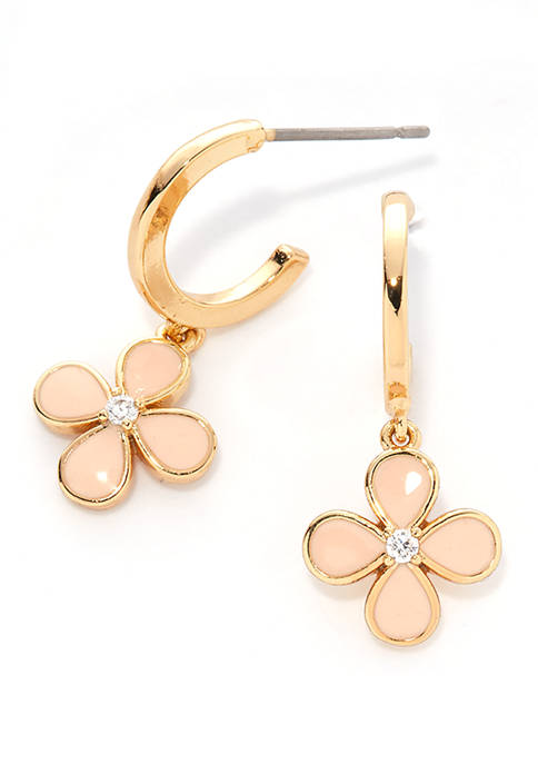 Kim Rogers® Pink and Gold-Tone Boxed Flower Earrings