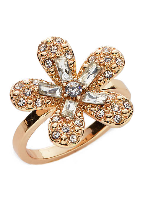 Kim Rogers® Boxed Clear Crystal Gold-Tone Flower Ring