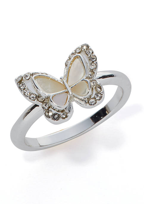 Boxed Butterfly Crystal Ring