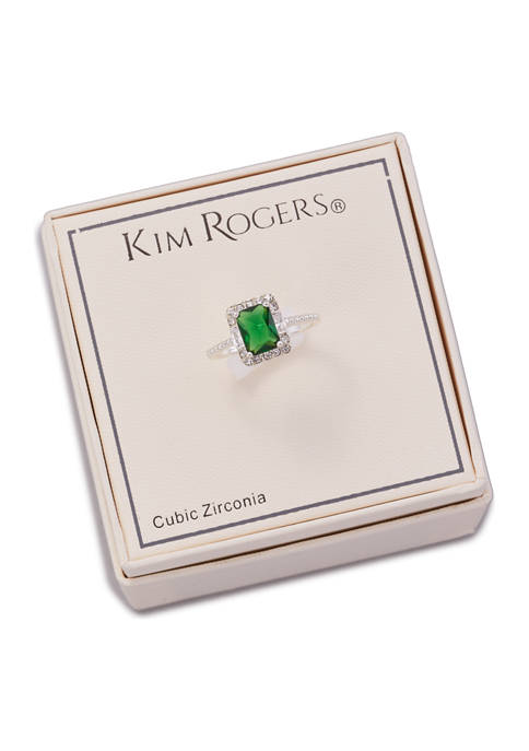Kim Rogers® Boxed Silver Tone Crystal Emerald Halo