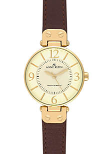 Gold Round Bezel Watch with Brown Leather Strap
