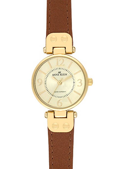 Anne Klein Gold Round Case with Honey Leather