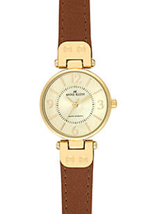 Gold Round Case with Honey Leather Strap