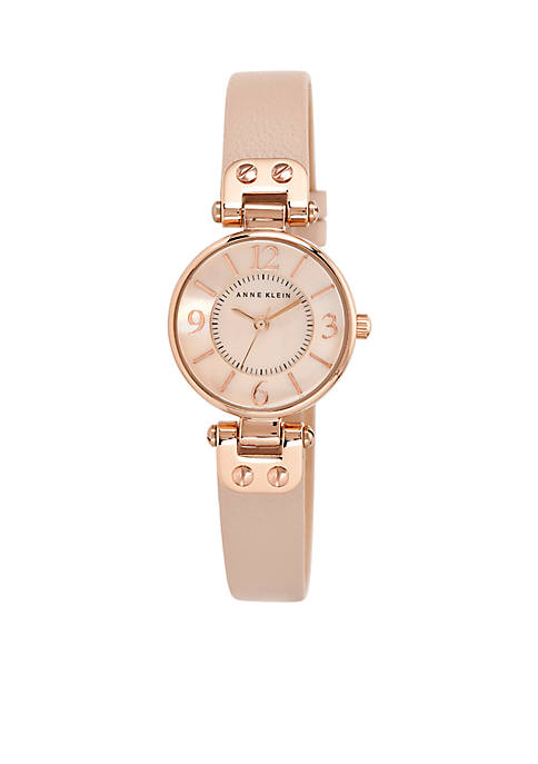 Anne Klein Womens Round Rose Gold-Tone Watch