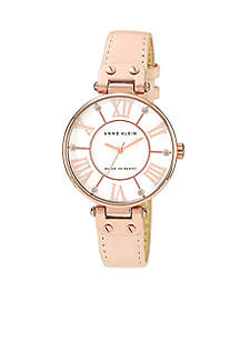 Oversized Round Dial with Crystal Blush Leather Strap