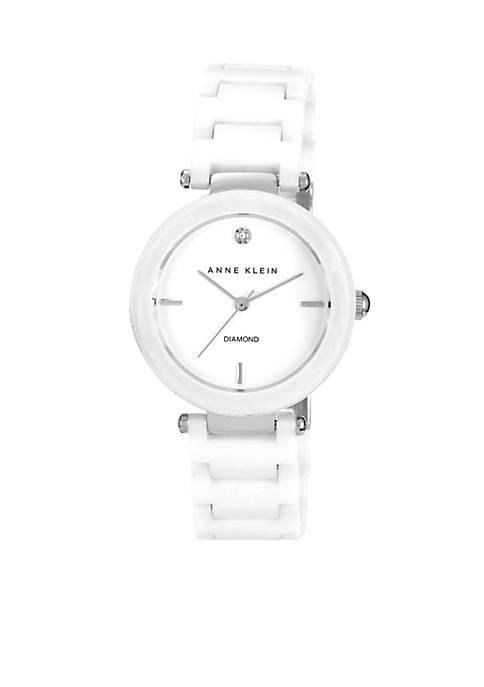 Anne Klein White Round Ceramic Diamond Bracelet Watch