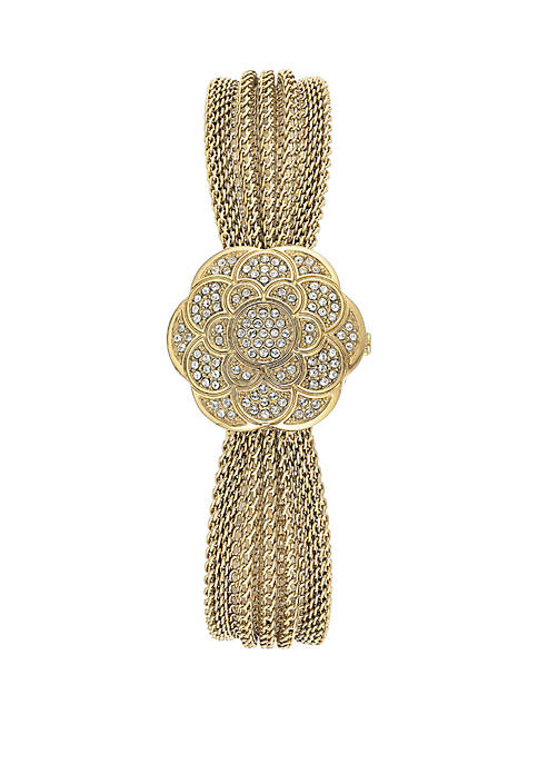 Womens Gold Tone Stainless Steel Crystal Cover Watch
