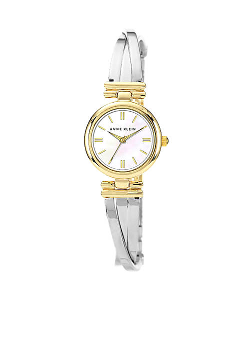 "Anne Klein Two-Tone ""X"" Shape Bangle Watch"