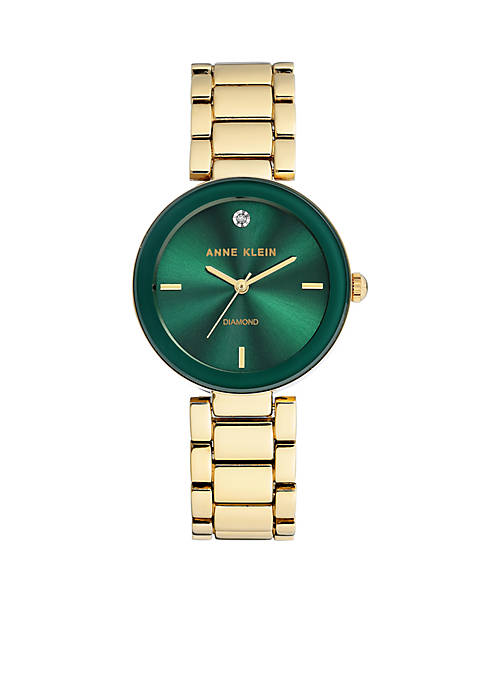 Anne Klein Green-Gold Diamond Watch