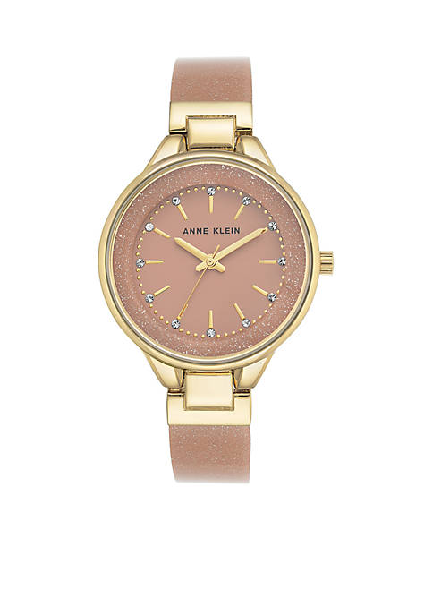 Anne Klein Womens Gold-Tone Pink Glitter Bangle Watch