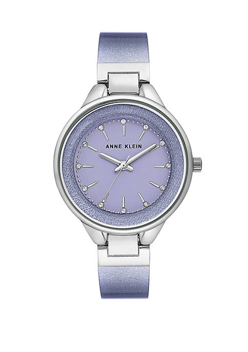 Anne Klein Silver Tone Lavender Resin Bangle Watch