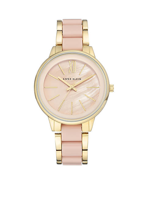 Anne Klein Womens Gold-Tone Mother of Pearl Adjustable