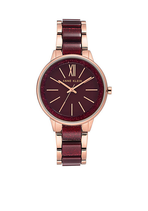Anne Klein Rose Gold-Tone Berry Plastic Bracelet Watch