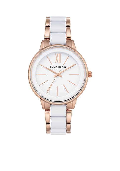 Anne Klein Womens Rose Gold-Tone Bracelet Watch