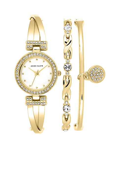 Anne Klein Gold-Tone Crystal Bangle Watch Set