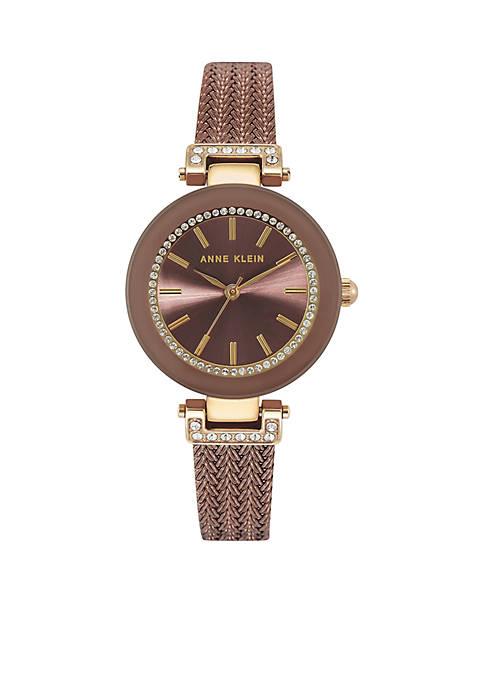 Anne Klein Two-Tone Crystal Mesh Bracelet Watch
