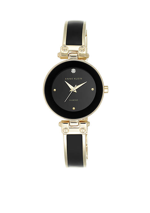 Anne Klein Womens Black Diamond Bangle Watch