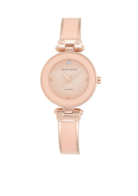 Anne Klein Womens Blush Diamond Bangle Watch