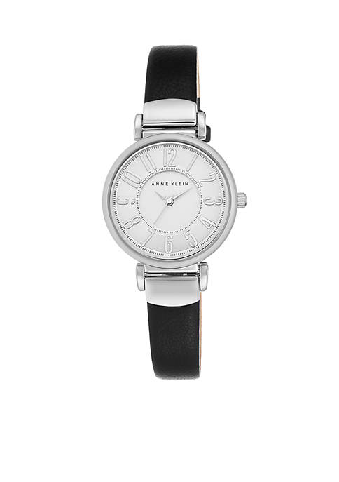 Anne Klein Womens Silver-Tone Easy Read Black Leather
