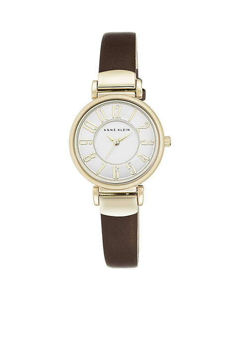 Anne Klein Womens Gold-Tone Easy Read Brown Leather