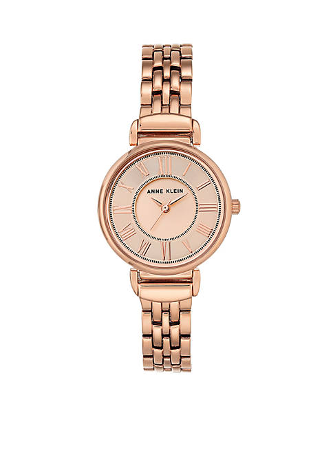 Womens Rose Gold-Tone Roman Numeral Watch