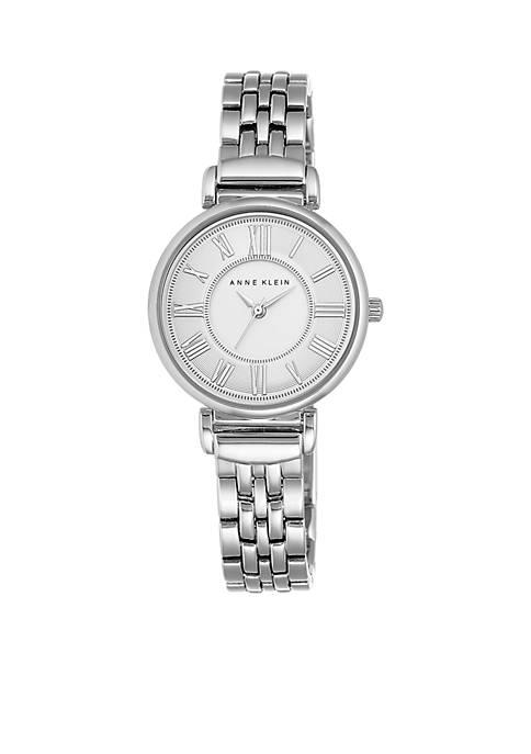 Anne Klein Womens Silver-Tone Bracelet Link Watch