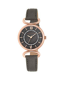 Women's Rose-Gold Pave Dark Taupe Leather Watch