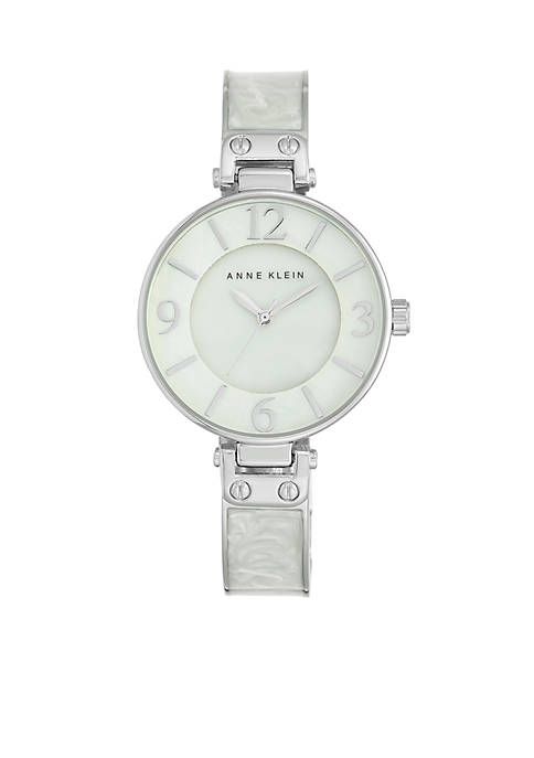Anne Klein Womens White Marbleized Silver-Tone Bangle Watch