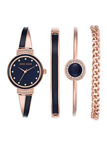 Women's Rose Gold-Tone Swarovski® Crystal Bangle Watch Set