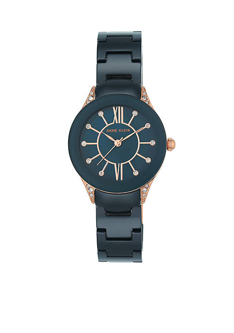Anne Klein Womens Rose Gold-Tone Crystal Black Ceramic