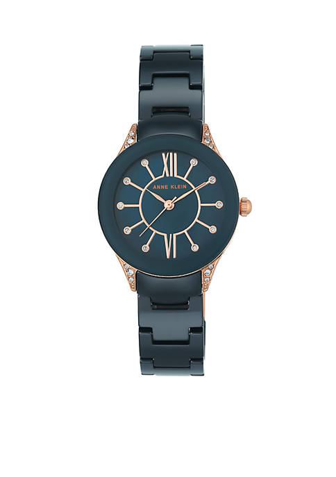 Womens Rose Gold-Tone Crystal Black Ceramic Bracelet Watch