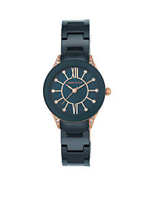 Women's Rose Gold-Tone Crystal Black Ceramic Bracelet Watch