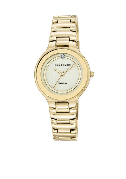 Anne Klein Womens Gold-Tone Diamond Dial Watch