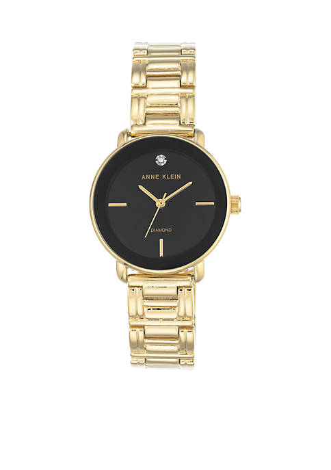 Anne Klein Womens Diamond Dial Gold-Tone Bracelet Watch