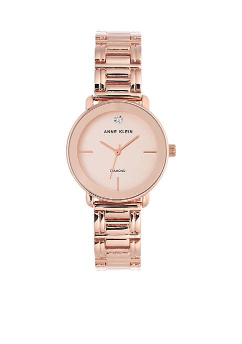 Anne Klein Womens Diamond Dial Rose Gold-Tone Bracelet