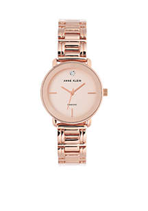 Women's Diamond Dial Rose Gold-Tone Bracelet Watch
