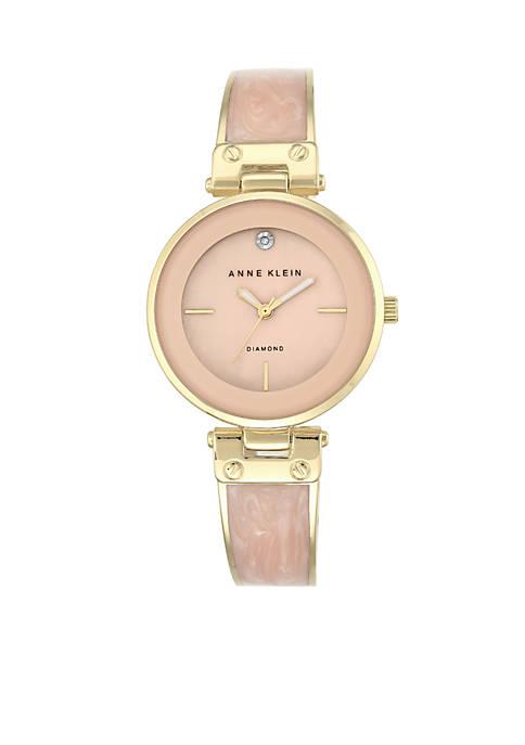 Anne Klein Womens Gold-Tone Diamond Dial Light Pink