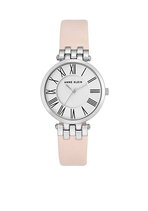 Anne Klein Womens Silver-Tone Leather Band Watch